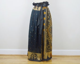 Vintage Sari Silk Alexandra Pleated Maxi Skirt