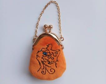 blythe bag mini purse kiss lock bag purse doll BJD bag embroidery bag kitten