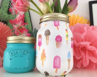 Hand Decorated Vintage Ice Cream Mason Jar