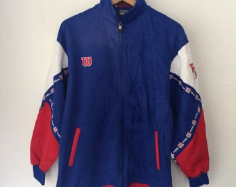 Vintage Wilson Track Top Trainer Jacket Multi Colour Retro