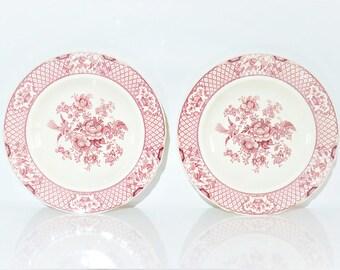 "Two Vintage Mason's ""Stratford"" England Ironstone Dinner Plates Bowls 10 1/2"" Wall Decor Decoration Red Transferware Bird Flower Design"