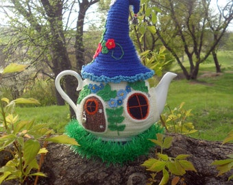 Knitted tea cozy, Fairy house teapot cosy, Warmer for teapot, fairytale warmer, Tea cozy