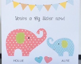 """Personalised Elephants """"You're a big sister now!"""" or """"You're a big brother now!"""" Card"""