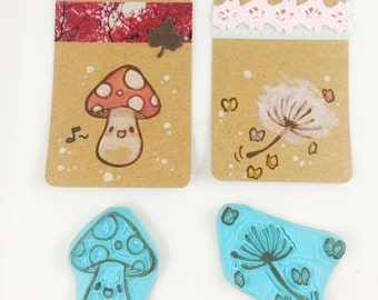 hand carved rubber cute mushroom butterfly stamp dandelion seed head handmade scrapbooking scrapbook blowball fly agaric amanitastationary