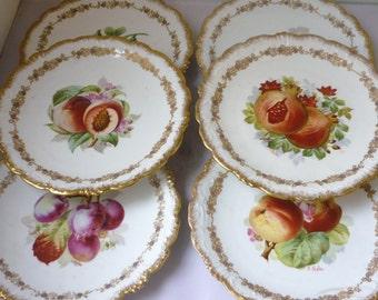 Limoges France  by Sigismond Maas signed J Golse Set of Six Plates Fruits