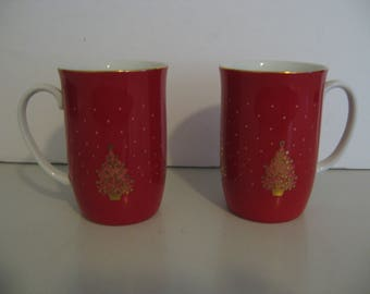 Exquisite Shiny Red Otagiri Embossed Gold Christmas Tree Mugs - Set of Two