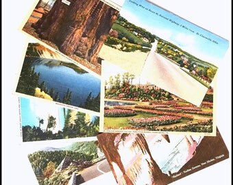 Vintage Postcards - Set of (7) Seven - Scenic Linen Post Cards - Used Postmarked 1930s & 1940s