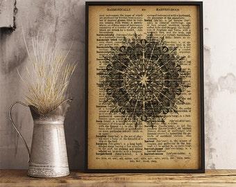 Mandala spiritual art print, Abstract boho style mandala wall decor, Mandala wall art yoga print (MA37)