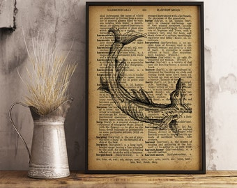 Ancient sea creature Poster, Nautical Decor, Antique sea creature illustration print, Fantasy Nautical Art Print science fiction print  R12
