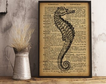 Seahorse print Vintage Art Decor Seahorse poster Dictionary print Nautical Decor Coastal wall art Seahorse decor beach house decor  R13