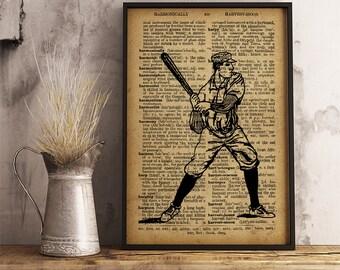 Vintage Baseball Player Print, Sports Baseball Print Vintage Baseball Player Poster, sports collage man cave decor, sports gifts V12