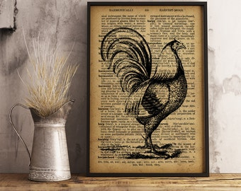Farmhouse Rustic Decor Cock Poster farm house Wall Art Vintage Style Print Animal Printable Textured Art Paper Rooster print  A02