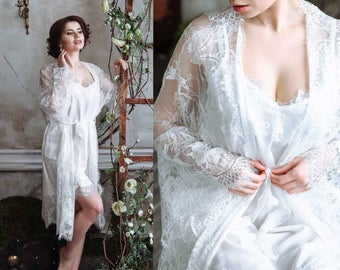 Bridal Robe Lace Set, Chantilly Lace Robe Set, Lace Bridal Robe, Embroidered Lace Bridal Robe, French Lace Wedding Robe, Wedding Lingerie