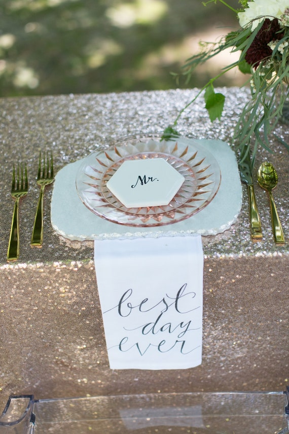"CUSTOM CALLIGRAPHY Napkins - ""Best Day Ever"" / Wording of Your Choice - 16x16 Napkins / Featured in Summer 2016 Weddings With Style Mag."