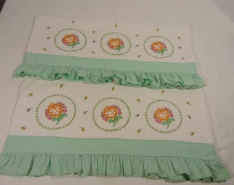 Handmade Vintage Embroidered Pillow Case X 2 Mint Green Ruffle Standard Size