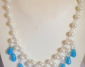 Faux Pearl Necklace and blue drops