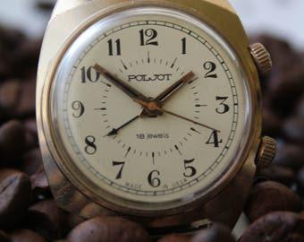 Soviet watch, Vinage wrist watch - alarm, Gold-plated watch Poljot, Mechanical watch, Mens watch, Wrist watch USSR, AU5, Working.