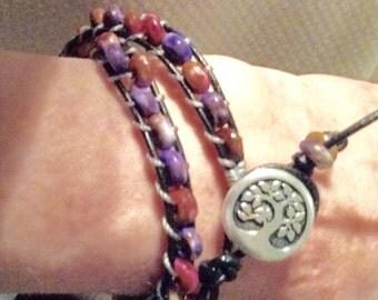 Hand Stitched Leather Wrap Bracelet