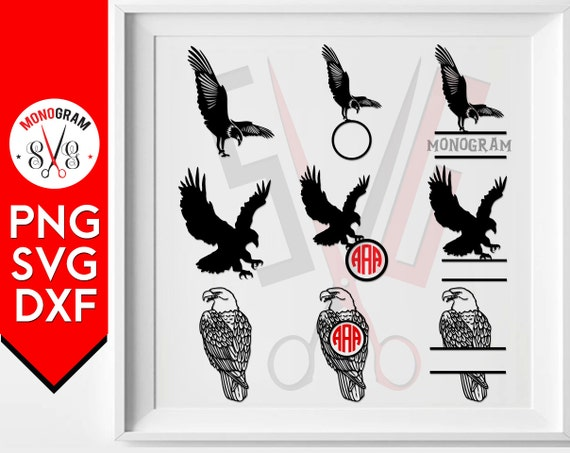 eagle monogram svg silhouette decal cameo clip art cut files