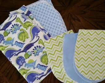 Newborn set 2 receiving blankets + 3 burp cloths. Dinosaurs