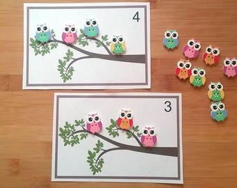 Owl Counting Activity - Owls - Busy Bag - Quiet Activty - Learning To Count