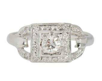Vintage Diamond Engagement Ring  | Conflict Free Diamond Inexpensive Art Deco Ring | 14k White Gold Estate Diamond Ring || 17993
