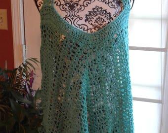 turquoise crocheted top  ,  ladies crocheted turquoise top  ,  lemon lime fizz crocheted top ,  teens turquoise top  ,  crochet tank top