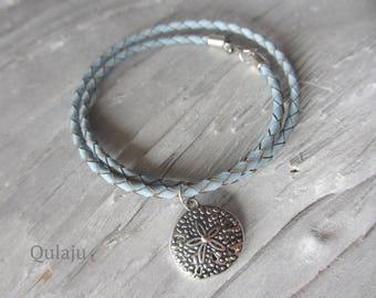 Chain coin bracelet Starfish leather light blue