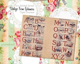 Vintage Farm Ephemera - Farm Alphabet - Digital Download