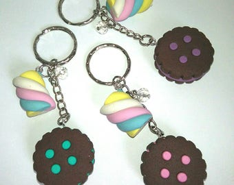 Marshmallows and chocolate cookies with cream key chain blue pink purple pastel fake food sweet candy sugar dessert yummy