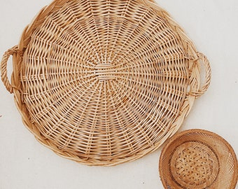 Extra Large Vintage Wicker Tray Basket