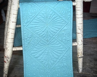 "Made to Order - Table Runner - Quilted - Turquoise  - 9"" x 78"""