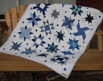 Pointless, scrappy blue and white star youth quilt or lap quilt