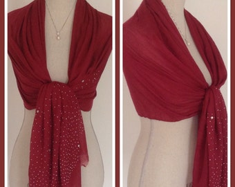 Red With Silver Studs Crystals Embellishment Style Wrap Pashmina Shawl Scarf Party Weddings Gift Idea