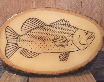 Hand Wood Burned Fish Sign