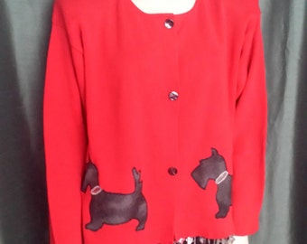 50% OFF Womens Size XL Cardigan/Knitt Cotton Cardigan Under 30.00/Red Cardigan/Vintage Red Blazer/Cardigan With Dog Application/ Nr 039