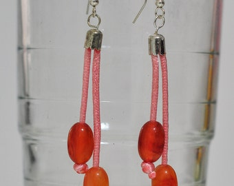 Thread and beads earrings
