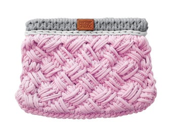 "Knit Bag ""Criss-Cross"" / Pink & Gray knitted bag / Crossbody / Handbag / Crochet bag / Purses and Handbags / Everyday Handbag"