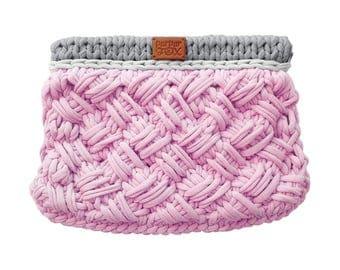 """Knit Bag """"Criss-Cross"""" / Pink & Gray knitted bag / Crossbody / Handbag / Crochet bag / Purses and Handbags / Everyday Handbag"""