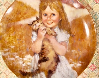 My Kitty Print by The Villetta   American Artist Thorton Utz with Little girl holding a kitty cat