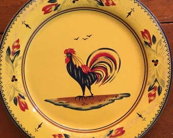 1 Yellow Country style Rooster Plate  for display only