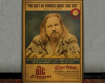 The big Lebowski, The Dude, Colored retro classic movie poster