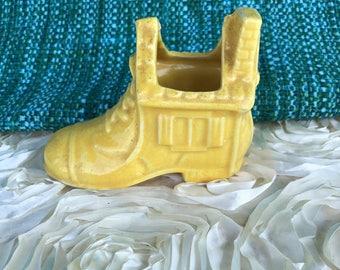 Vintage Yellow Shoe Ceramic Pottery Vase Planter