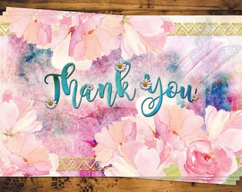 Boho Floral Thank You Card