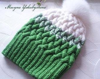 Knitting hat Women hat Hat with Pompom Ombré Knit Hat GRADIENT HAT Green and white Knitting hat with braids Cap Gift