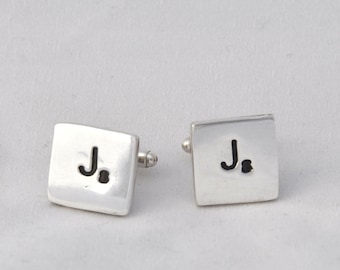 Scrabble letter cufflinks sterling silver cufflinks imprinted with scrabble tile letter and number - handmade silver cufflinks