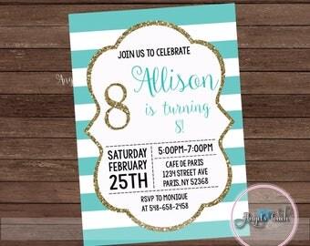 Turquoise White And Gold Invitation Aqua Stripes Birthday Party