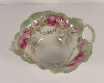 Vintage Nuremberg China Germany Leaf Shaped Creamer with Rose Motif.