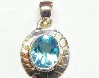 Fine Jewelry Pendant Blue Topaz Pendant Necklace B T C Z  Pendant Brillion Cut Pendant Gemstone B T 925 Sterling Silver Topaz Pendant E625