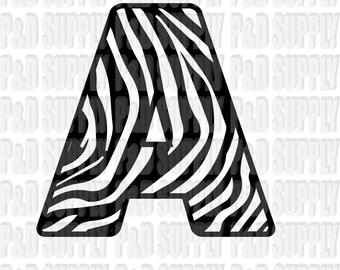 A-Z Alphabet Letter Monogram SVG, DXF Digital cut file for cricut or Silhouette svg, dxf - Animal Print - Zebra Stripe Print Alphabet Font
